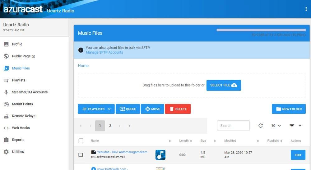 Azuracast-Music-Files-Page-ucartz